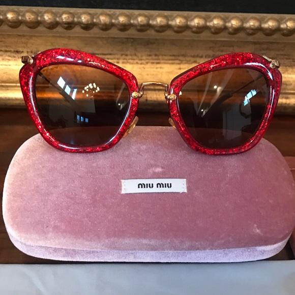 08df7d86e22 Miu Miu Red Glitter Women Sunglasses. M 5c32b523f63eea2f88518a66. Other  Accessories ...